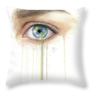 Earth In The Eye Crying Planet Throw Pillow