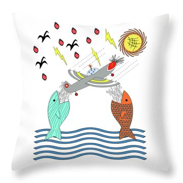Fish Food Throw Pillow by Methune Hively