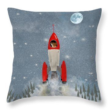 Mr Fox Goes To The Moon Throw Pillow