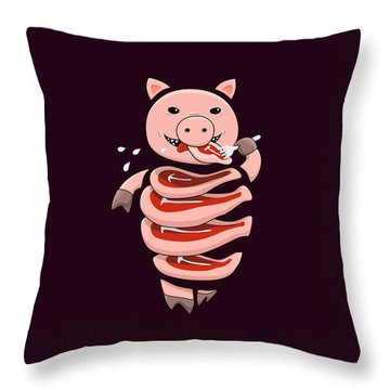 Gluttonous Self-eating Pig Throw Pillow