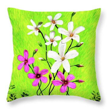 Throw Pillow featuring the mixed media Joie De Vivre by Mark Tisdale
