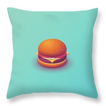 Burger Isometric - Plain Mint Throw Pillow