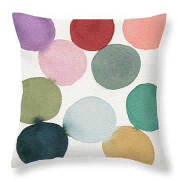 Colorful Circles Abstract Watercolor Throw Pillow