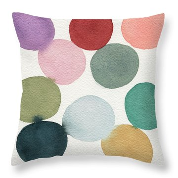 Colorful Circles Abstract Watercolor Throw Pillow