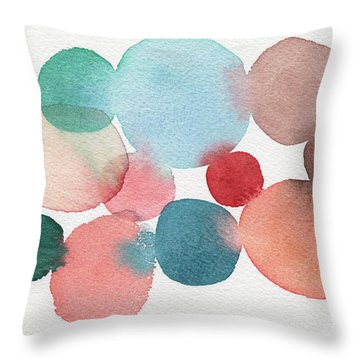 Teal And Coral Abstract Watercolor  Throw Pillow
