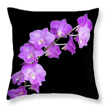 Vivid Purple Orchids Throw Pillow