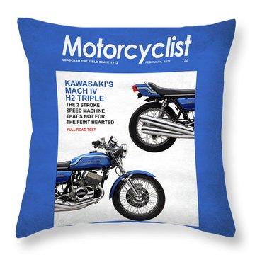 Motorcycle Magazine Kawasaki H2 1972 Throw Pillow