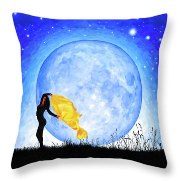 Throw Pillow featuring the mixed media Daughter Of The Moon by Mark Tisdale