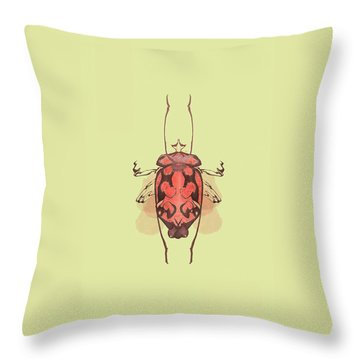 Crowned Horn Bug Specimen Throw Pillow