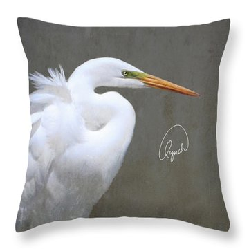 Portrait Of An Egret Signed Throw Pillow