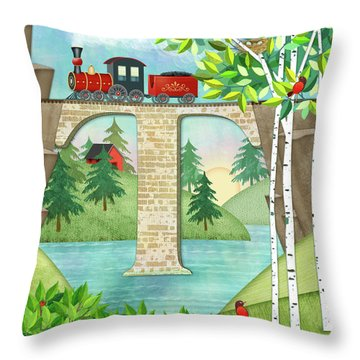 T Is For Train And Train Trestle Throw Pillow
