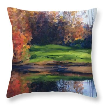 Autumn By Water Throw Pillow