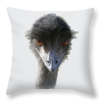 Suspicious Emu Stare Throw Pillow