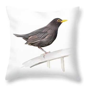 Ms. Blackbird Is Brown Throw Pillow