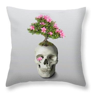 Bonsai Skull Throw Pillow