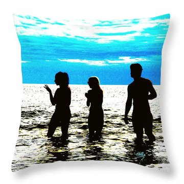 Hot Night At The Beach Throw Pillow