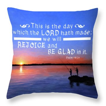 Throw Pillow featuring the mixed media Rejoice And Be Glad by Mark Tisdale