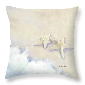 Throw Pillow featuring the painting Dance Of The Sea - Knobby Starfish Impressionstic by Audrey Jeanne Roberts