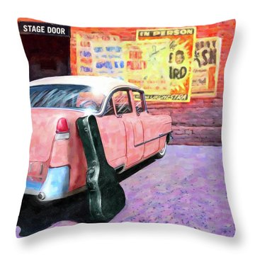 Throw Pillow featuring the digital art Pink Cadillac At The Stage Door by Mark Tisdale
