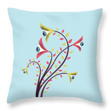 Flowers Of Watching Eyes Throw Pillow