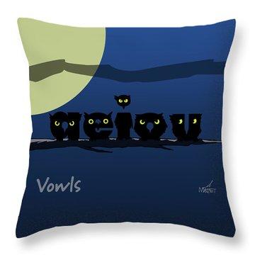 Vowls Throw Pillow