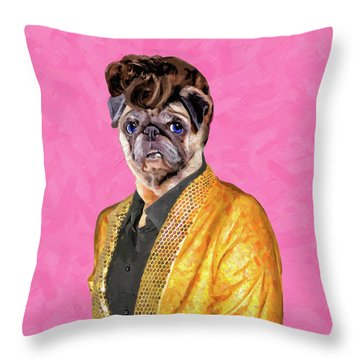 Throw Pillow featuring the digital art Elvis Pugsley - The King by Mark Tisdale
