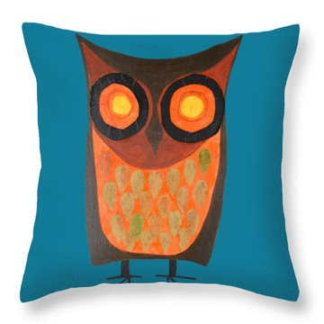 Give A Hoot Orange Owl Throw Pillow