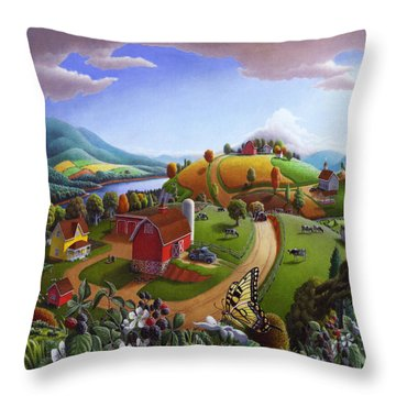 Folk Art Blackberry Patch Rural Country Farm Landscape Painting - Blackberries Rustic Americana Throw Pillow
