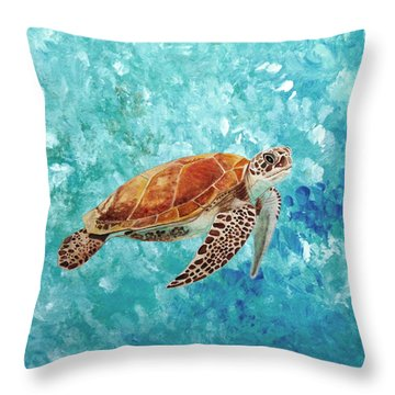Turtle Swimming Throw Pillow
