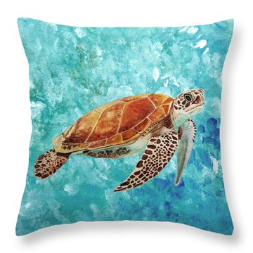 Throw Pillow featuring the painting Turtle Swimming by Angeles M Pomata