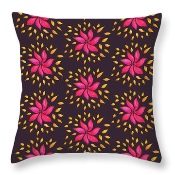 Abstract Whimsical Watercolor Pink Flower Throw Pillow