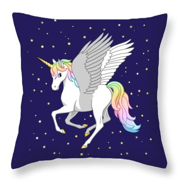 Pretty Rainbow Unicorn Flying Horse Throw Pillow