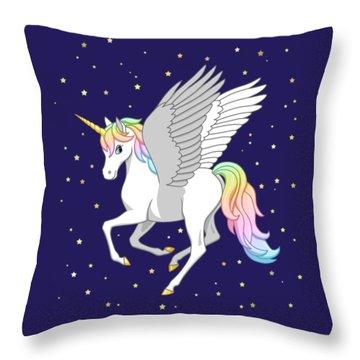 Pretty Rainbow Unicorn Flying Horse Throw Pillow