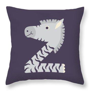 Letter Z - Animal Alphabet - Zebra Monogram Throw Pillow