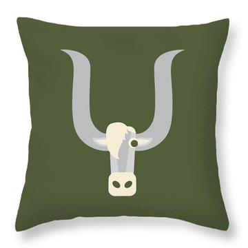 Letter Y - Animal Alphabet - Yak Monogram Throw Pillow