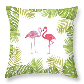 Throw Pillow featuring the painting Magical Tropicana Love Flamingos And Leaves by Georgeta Blanaru