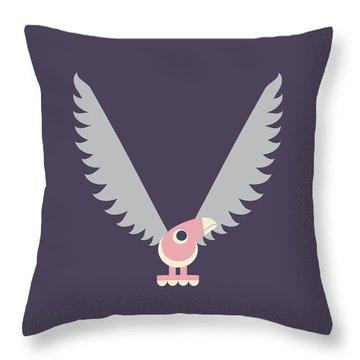 Letter V - Animal Alphabet - Vulture Monogram Throw Pillow