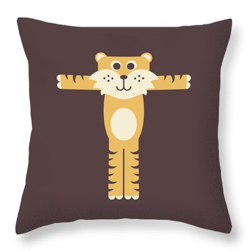 Letter T - Animal Alphabet - Tiger Monogram Throw Pillow