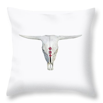 Cattle Skull With Pink Hydrangea Blossoms On White Throw Pillow