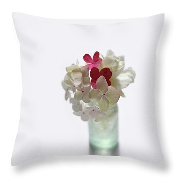 Hydrangeas And Gardenia In Aqua Glass Bottle Throw Pillow