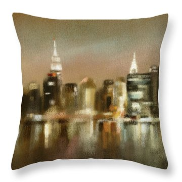 Luminous New York Skyline  Throw Pillow