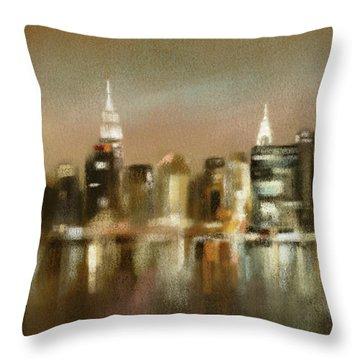 Luminous New York Skyline  Throw Pillow