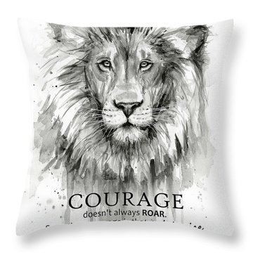 Lion Courage Motivational Quote Watercolor Animal Throw Pillow