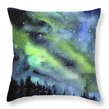 Galaxy Watercolor Nebula Northern Lights Throw Pillow