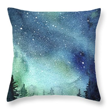 Galaxy Watercolor Aurora Painting Throw Pillow