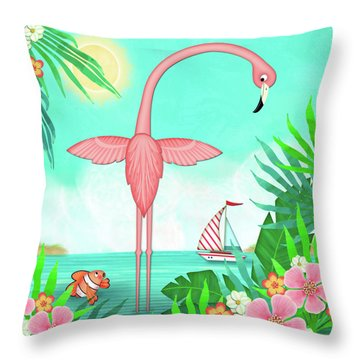 F Is For Flamingo Throw Pillow