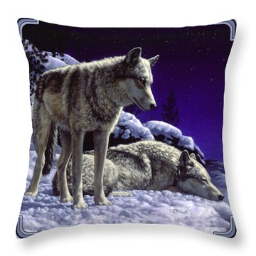 Wolf Painting - Night Watch Throw Pillow
