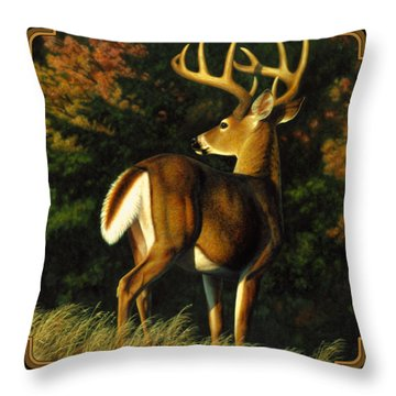 Whitetail Buck - Indecision Throw Pillow