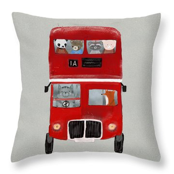 The Little Big Red Bus Throw Pillow