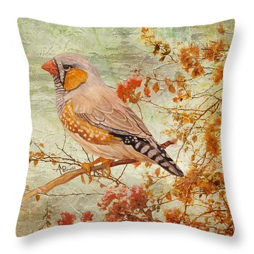 Zebra Finch Among Almond Trees Throw Pillow